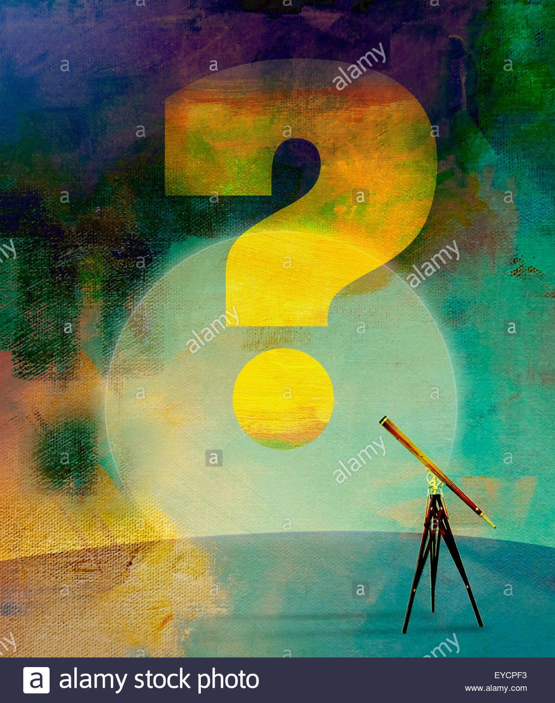 Telescope focusing on large question mark - Stock Image