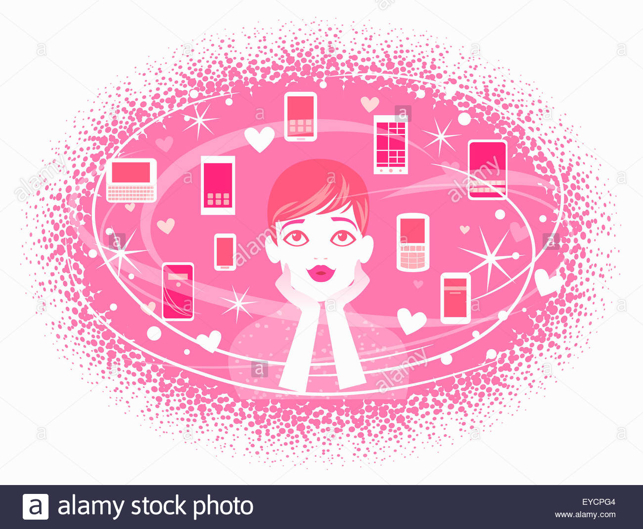 Woman dreaming of pink cell phones - Stock Image