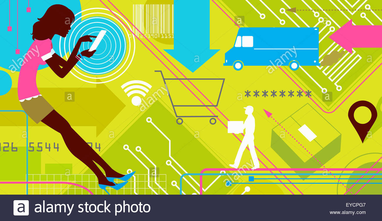 Woman using tablet computer for online shopping with parcel delivery - Stock Image