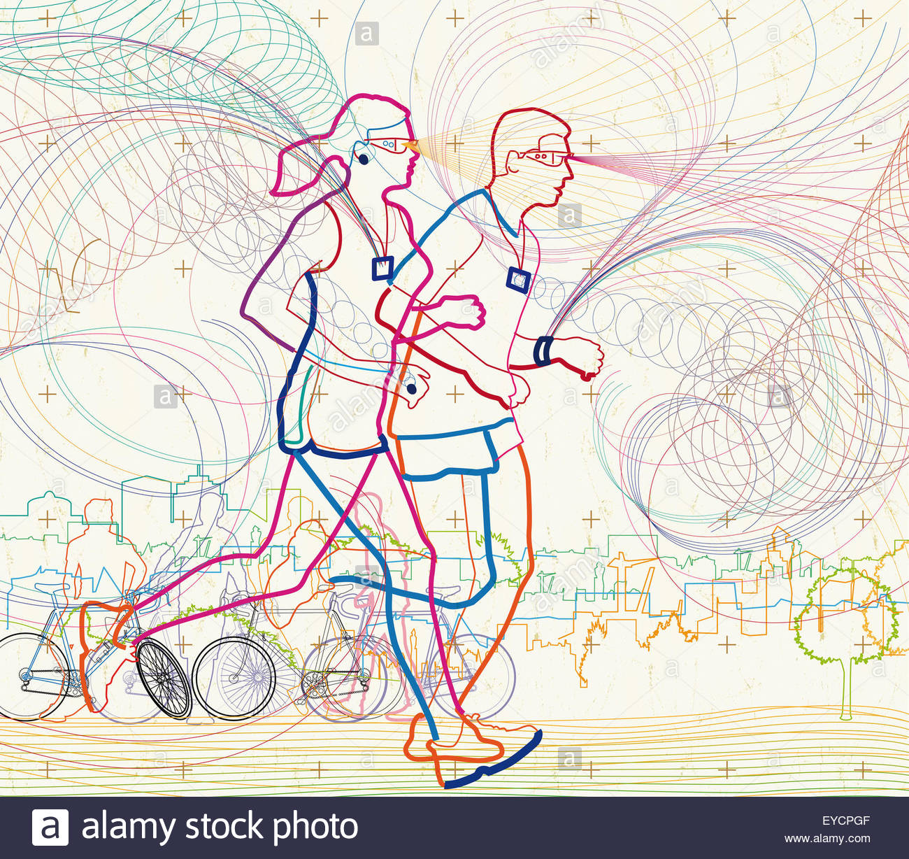 Man and woman running together in city using fitness activity trackers - Stock Image