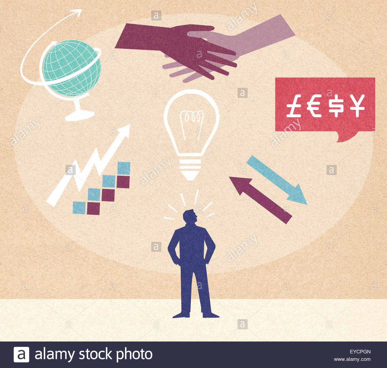 Businessman planning growth of global business Stock Photo