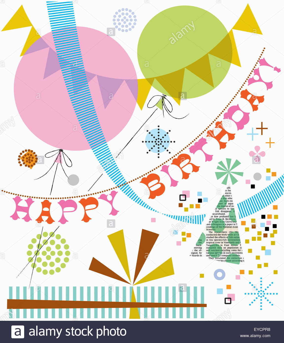 Happy Birthday celebration banner and bunting - Stock Image