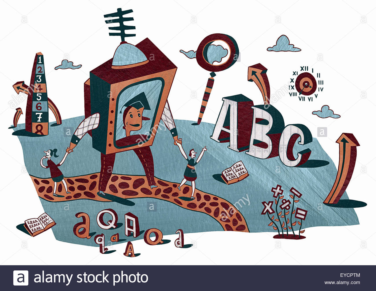 Enthusiastic children with teacher on television screen surrounded by alphabet and numbers in landscape - Stock Image