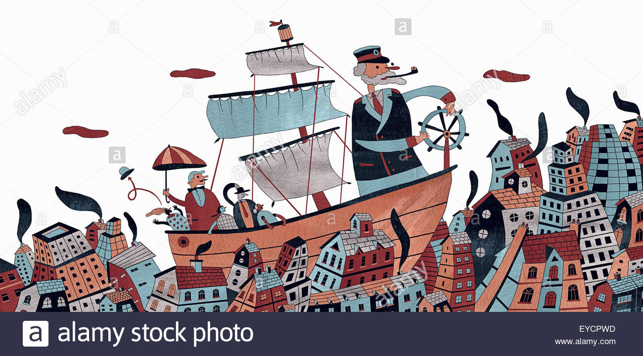 Sea captain navigating people on sailing ship through city ocean - Stock Image