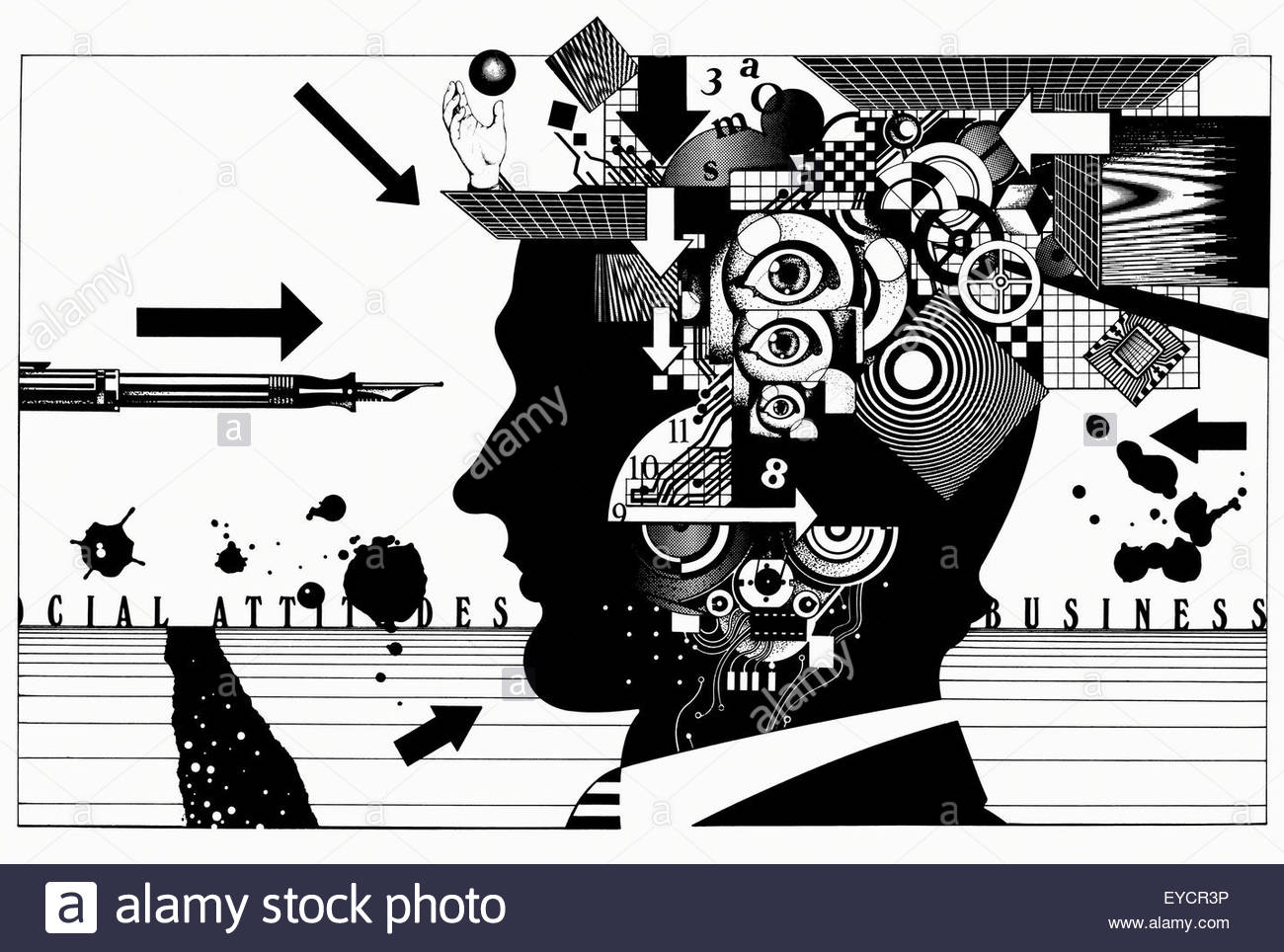 Complex pattern of cogs, puzzles, circuit boards and eyeballs inside of businessman's head - Stock Image