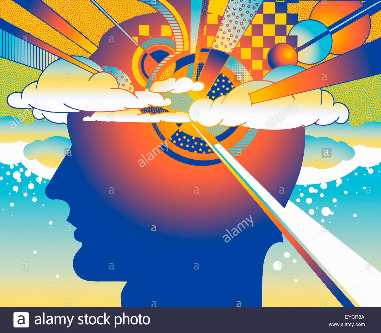 Complex pattern of geometric shapes inside of man's head in the clouds - Stock Image
