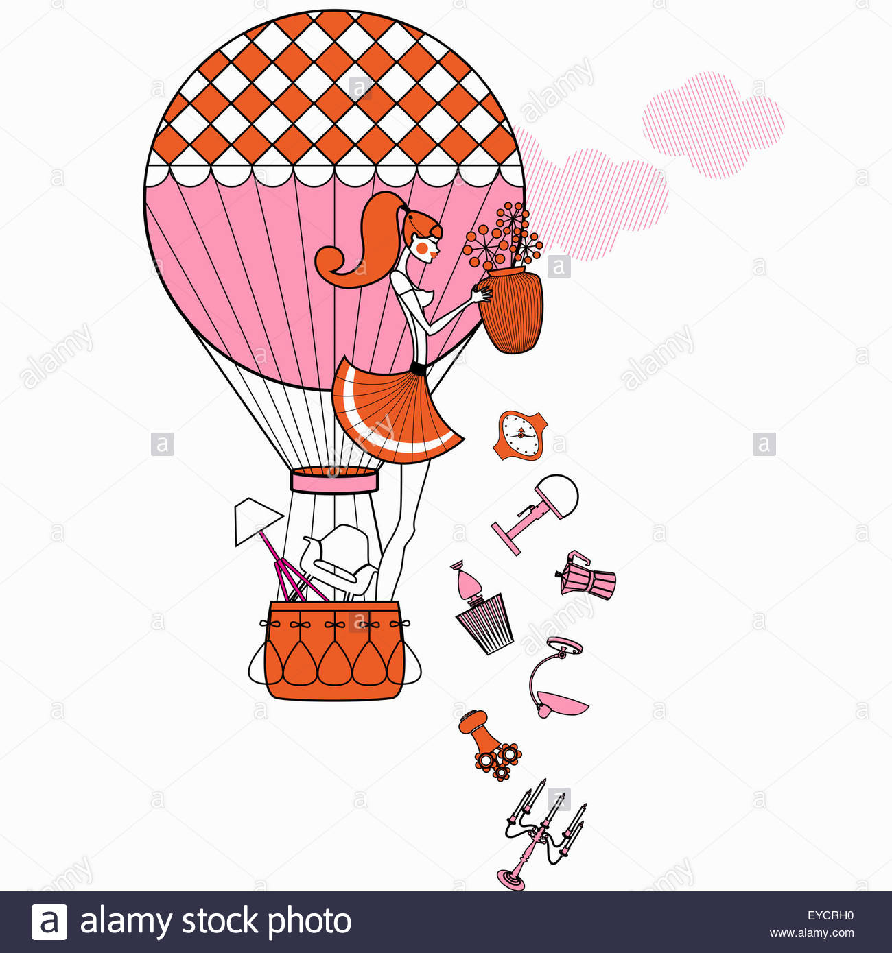 Fashionable woman in hot air balloon throwing away furniture and accessories - Stock Image