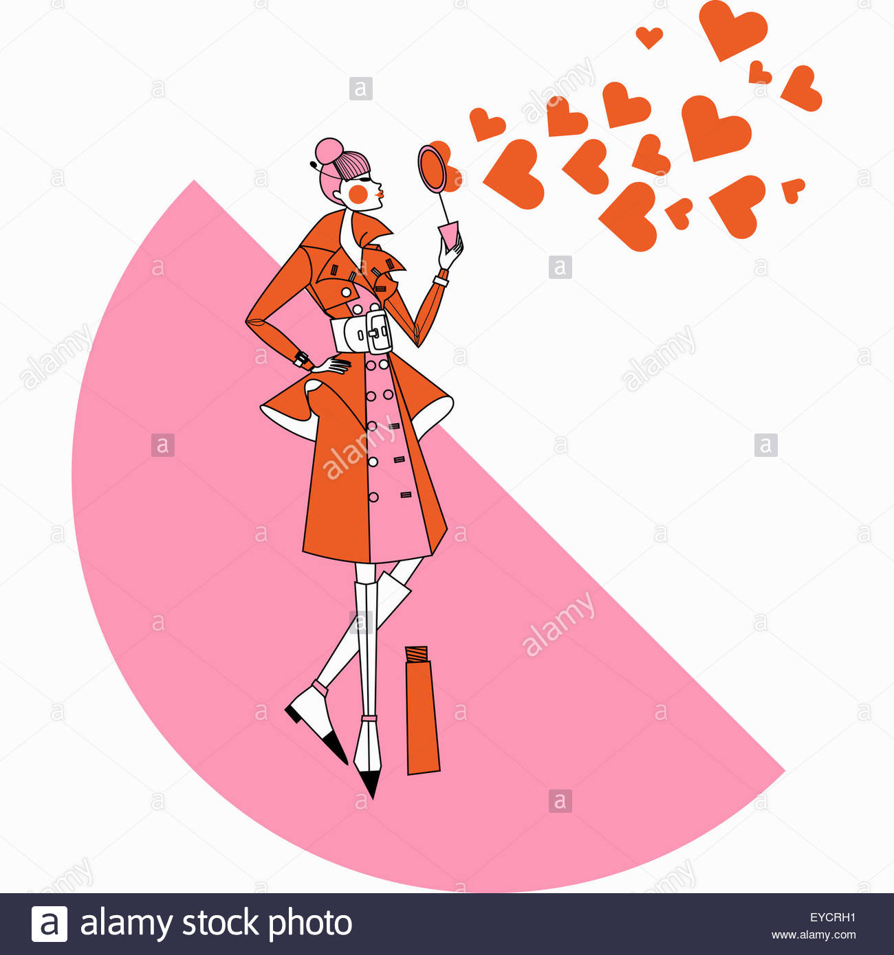 Fashionable woman blowing heart shape bubbles with bubble wand - Stock Image