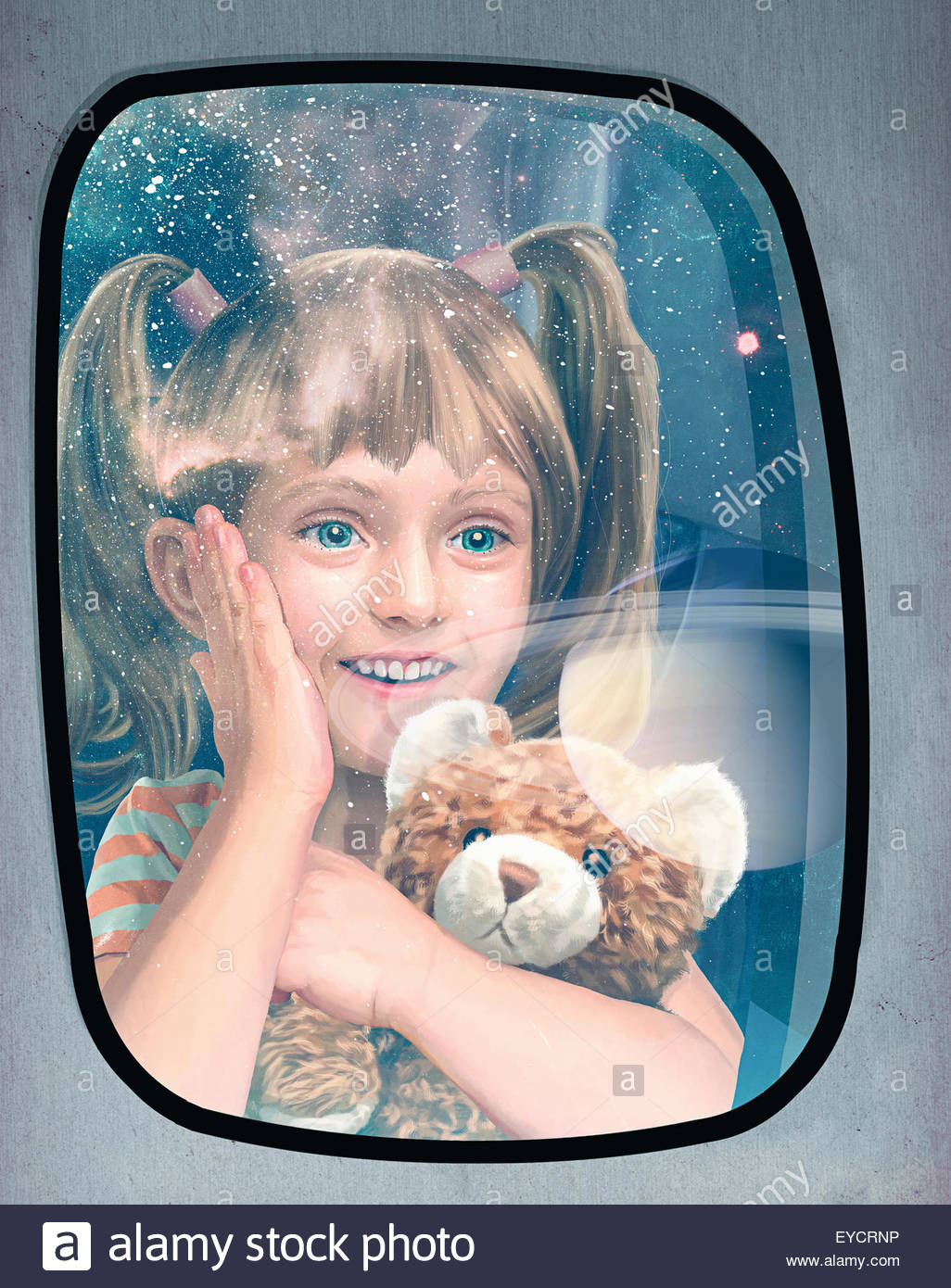 Excited child looking out of window at planets on futuristic space flight Stock Photo