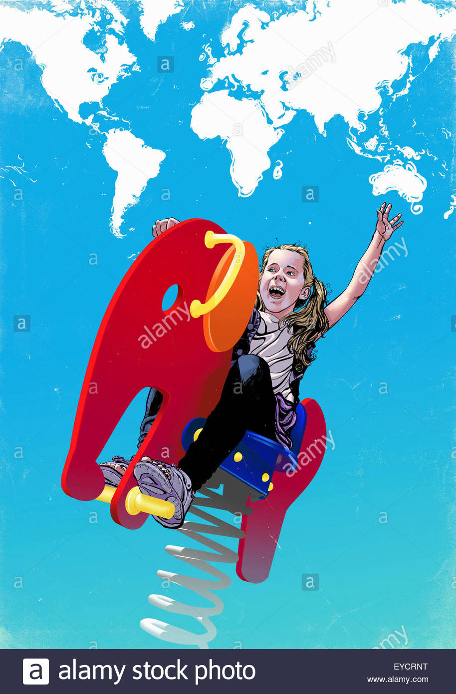 Happy girl playing on spring ride with world map clouds - Stock Image