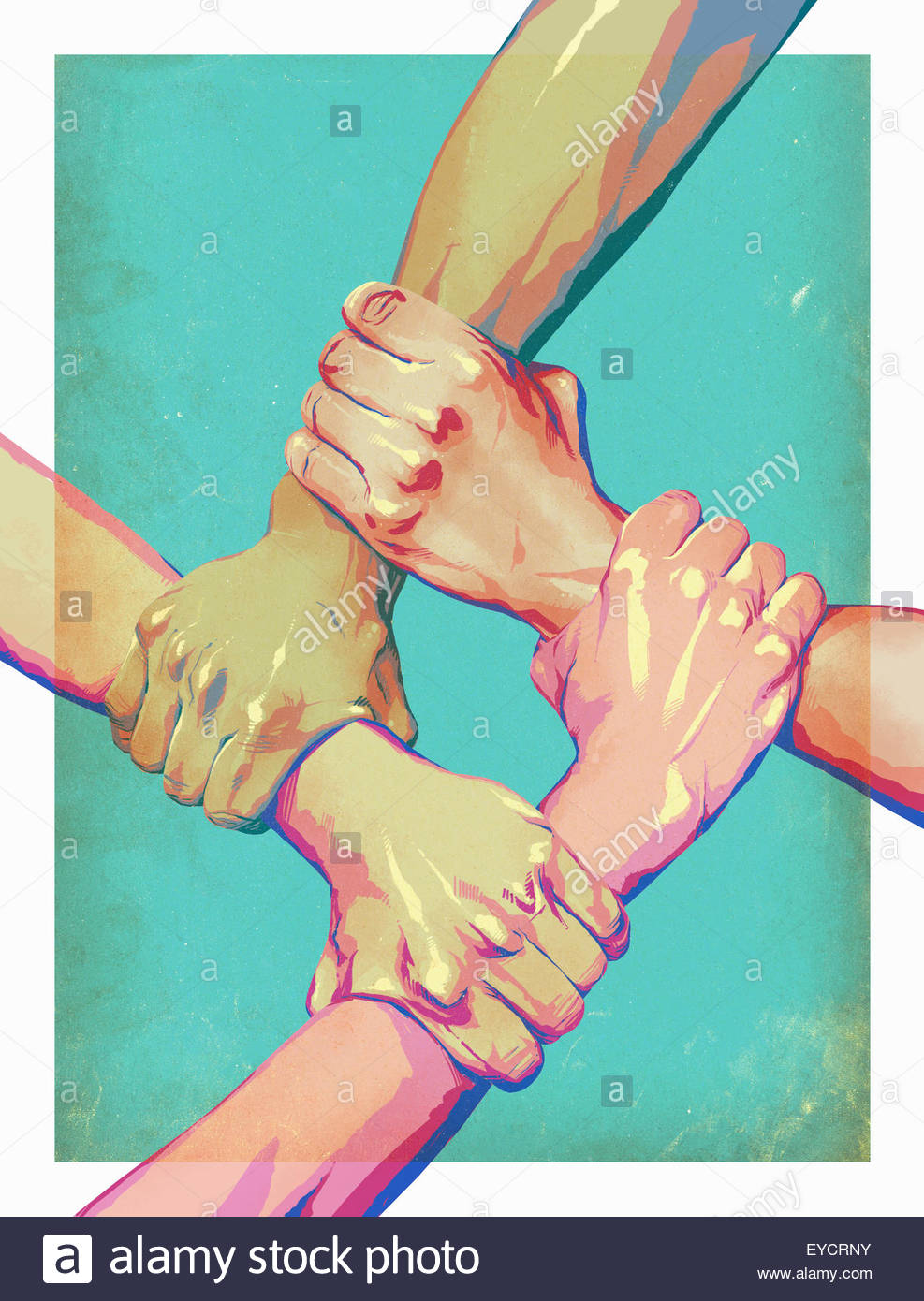 Four arms interlocked in unity - Stock Image
