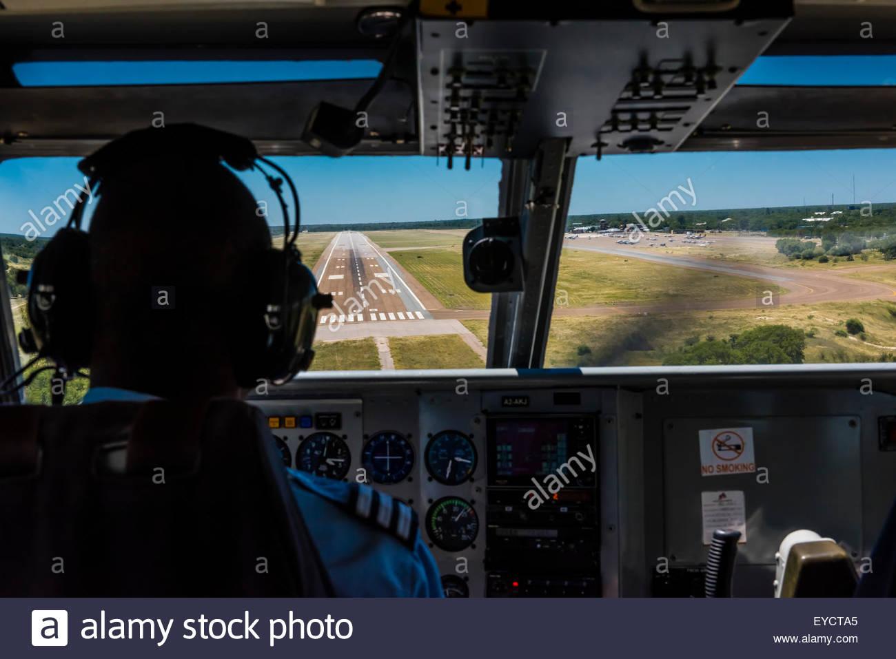 Landing at the airport at Maun, Botswana in transit from Lebala safari camp, Kwando Concession. - Stock Image