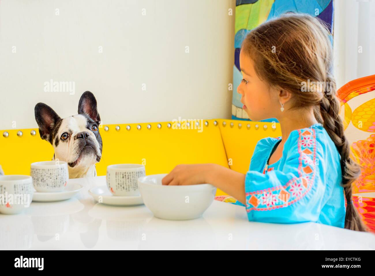 Girl and dog looking at each other at table - Stock Image