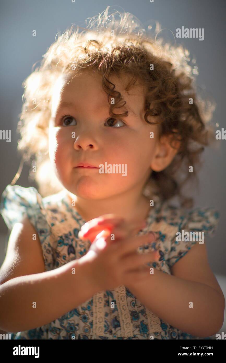 Young girl, praying - Stock Image