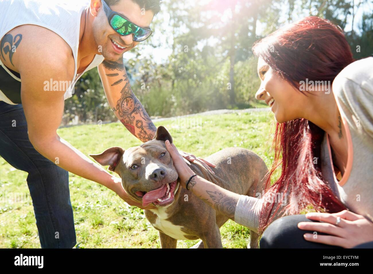 Young couple petting dog in park - Stock Image
