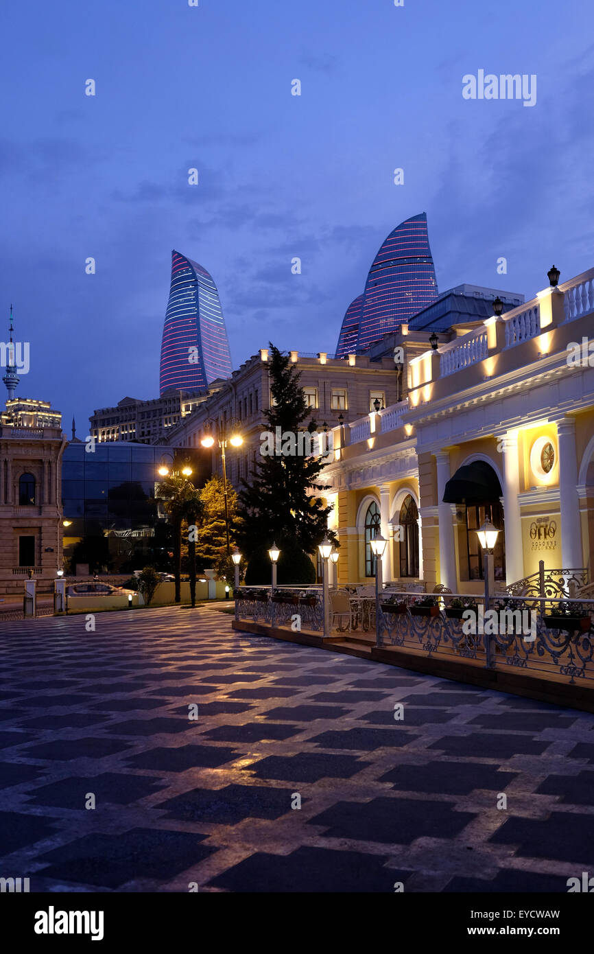 View of the Flame Towers from downtown in the city of Baku capital of Azerbaijan - Stock Image