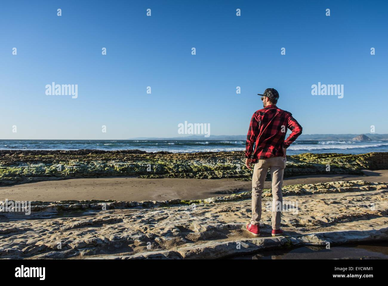 Young man standing on beach looking at ocean, rear view - Stock Image