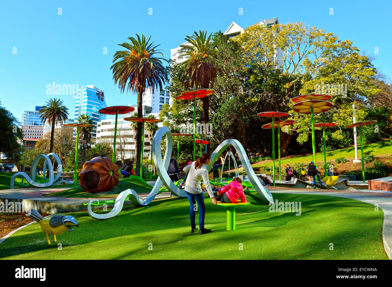 AUCKLAND - JULY 11 2015:Families enjoy Myers Park Playground.Myers Park developed in 1913 and for it's 100-year - Stock Image