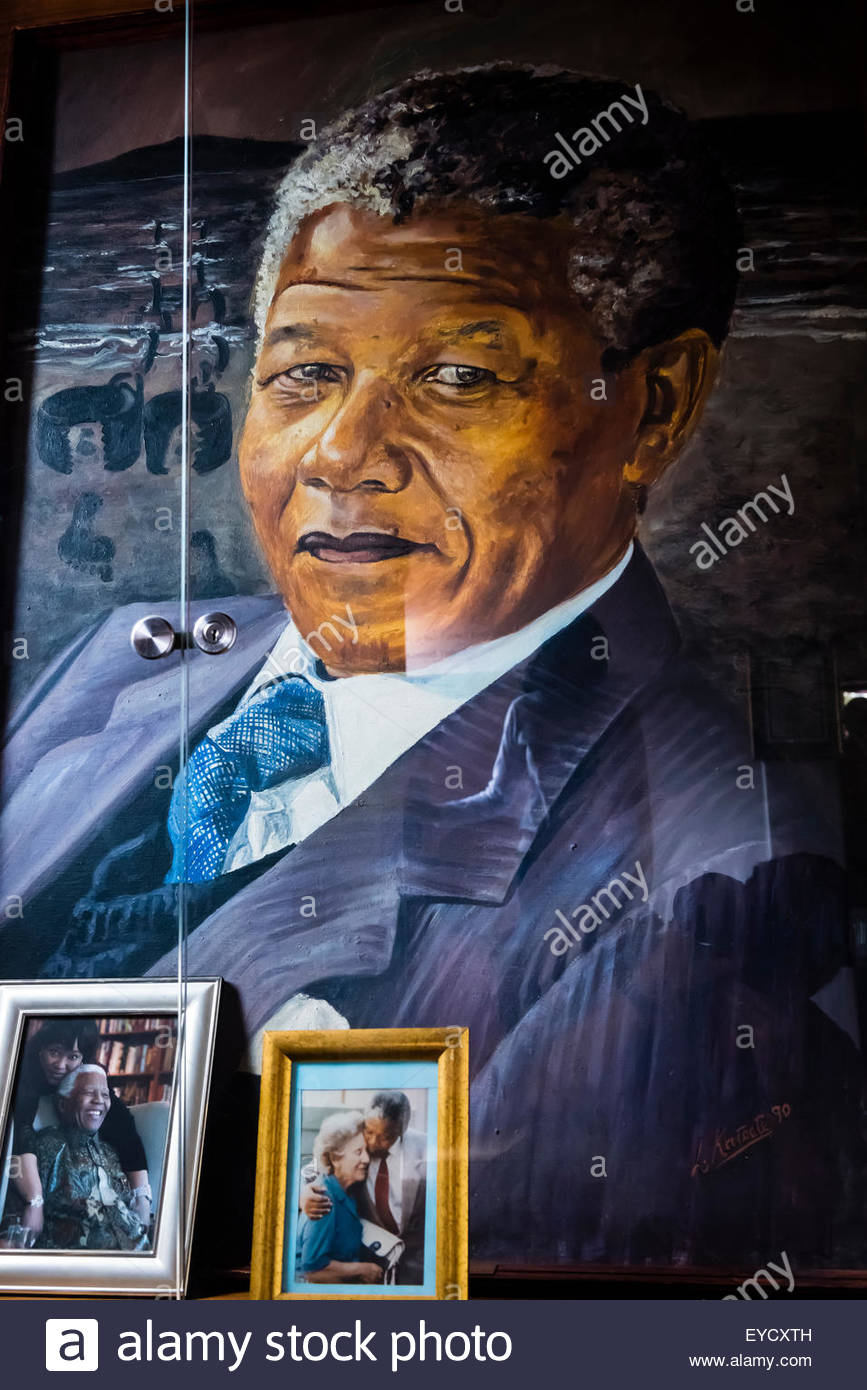 Portrait of Nelson Mandela, The Mandela Family Museum, Soweto (South Western townships), Johannesburg, South Africa. - Stock Image