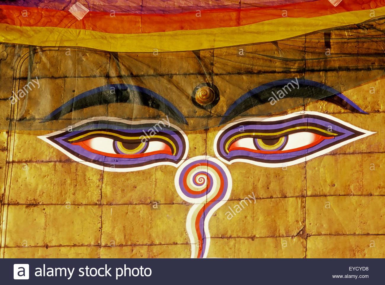 Buddha's eyes, Swayambhunath, Katmandu, Nepal, Asia - Stock Image