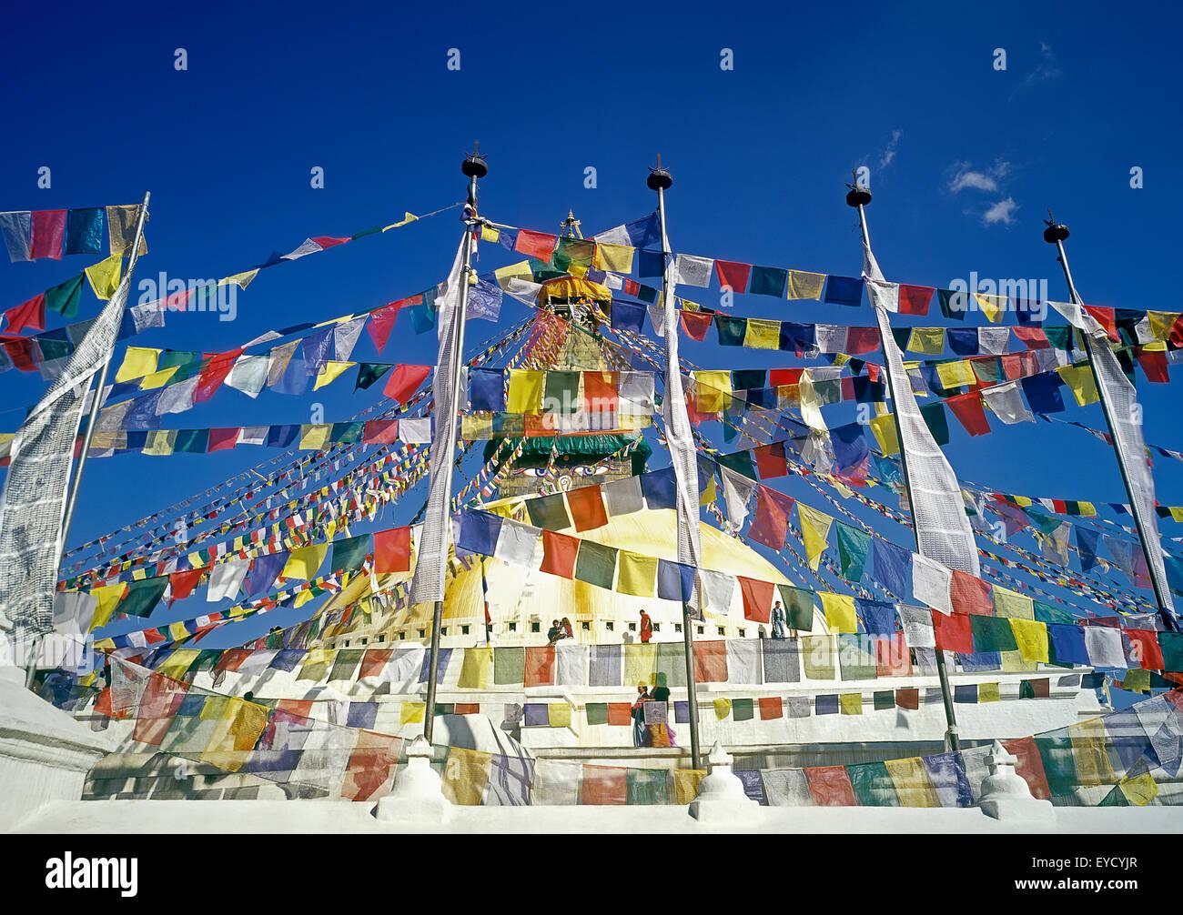 Bodnath stupa, prayer flags, Boudhanath Temple, Boudhanath, Katmandu, Nepal, Asia - Stock Image
