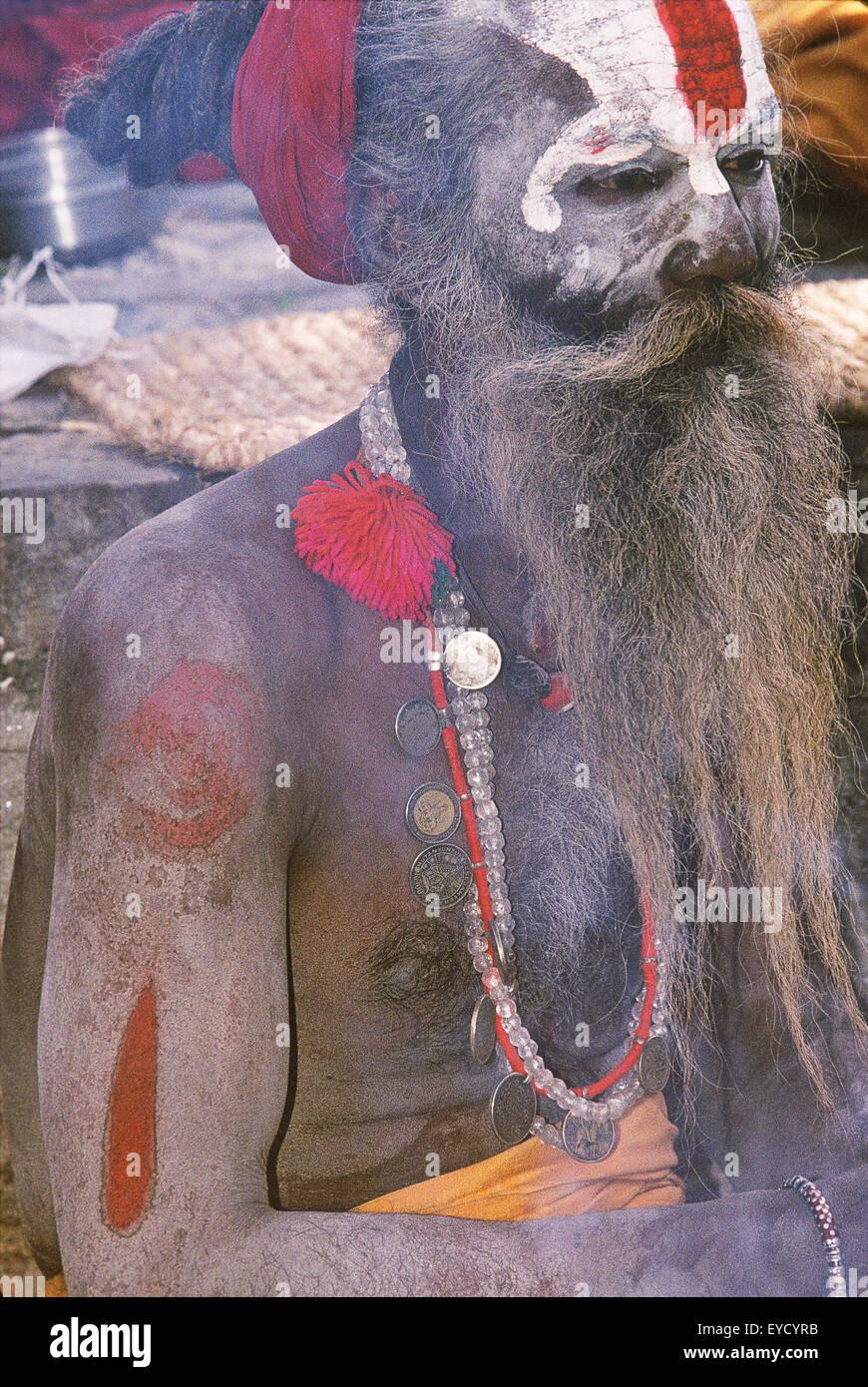 Portrait of a Holy man, Pashupatinath, Katmandu, Nepal, Asia Stock Photo