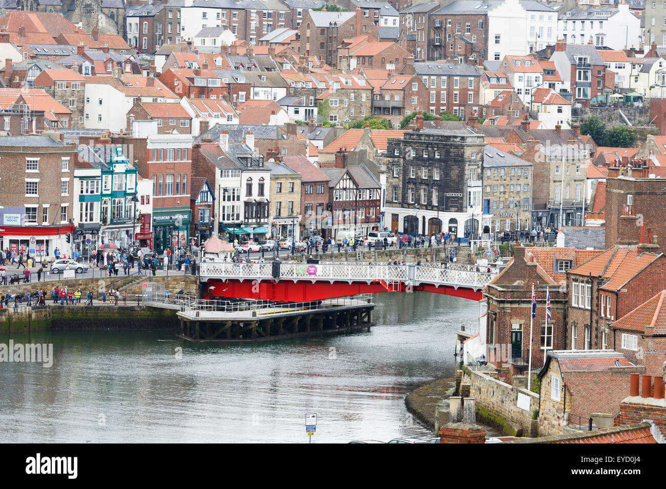 Whitby, Yorkshire, showing the River Esk and the swing bridge - Stock Image