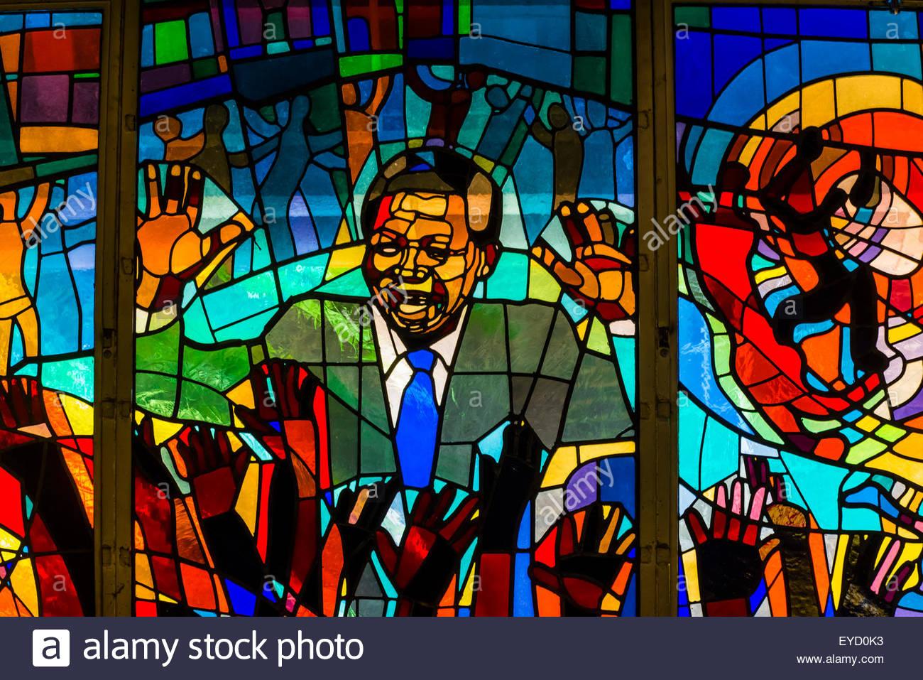 Nelson Mandela stained glass window at Regina Mundi Church, Soweto, Johannesburg, South Africa. It is the largest Stock Photo