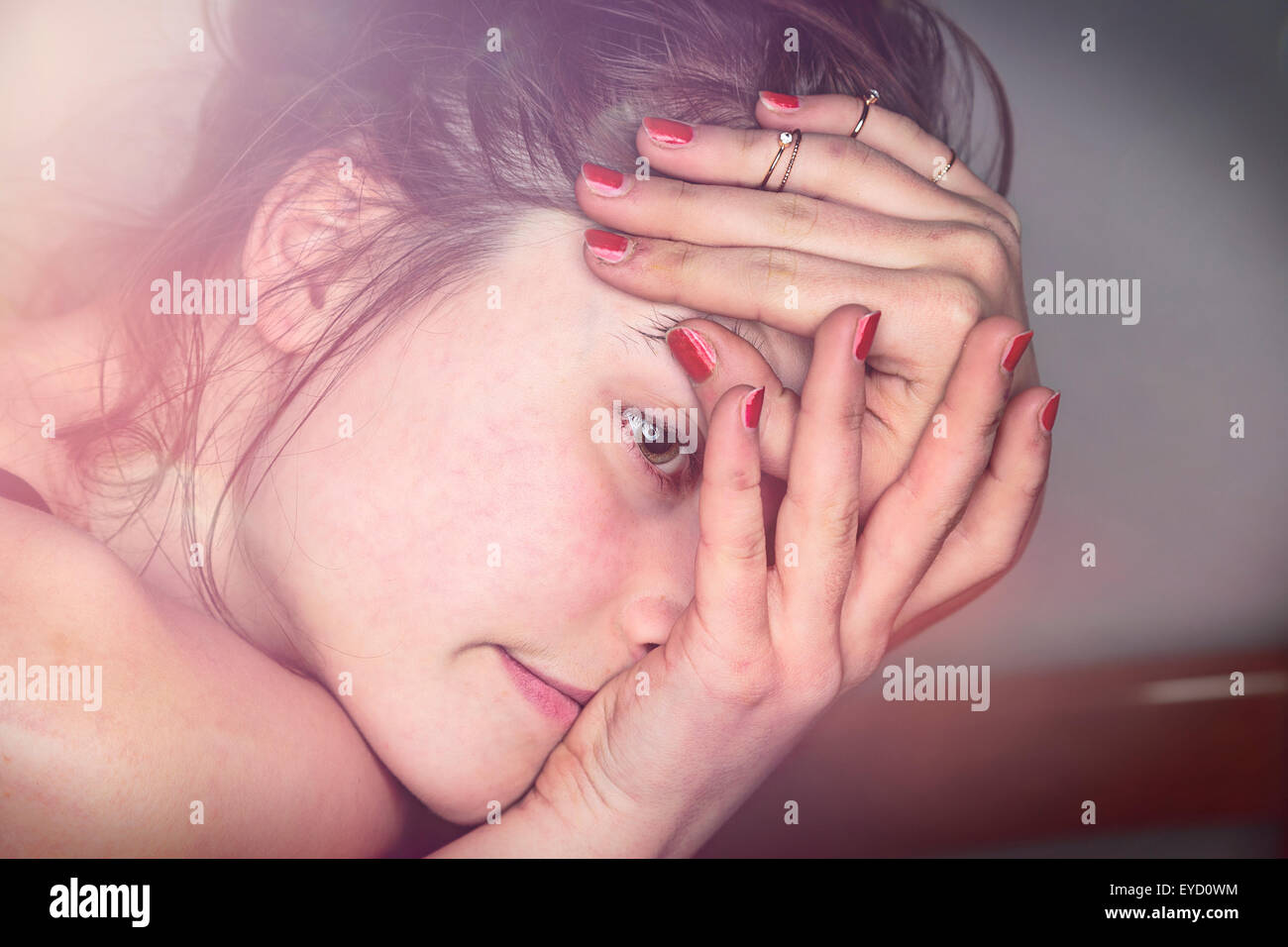 close up portrait of a beautiful young woman - Stock Image