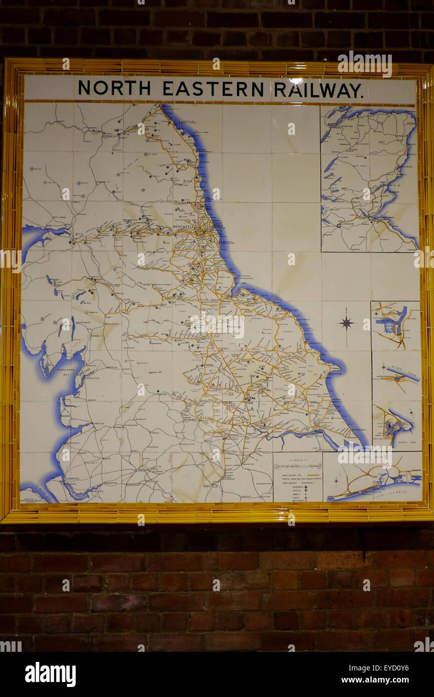 Vintage, North Eastern Railway, network map. - Stock Image