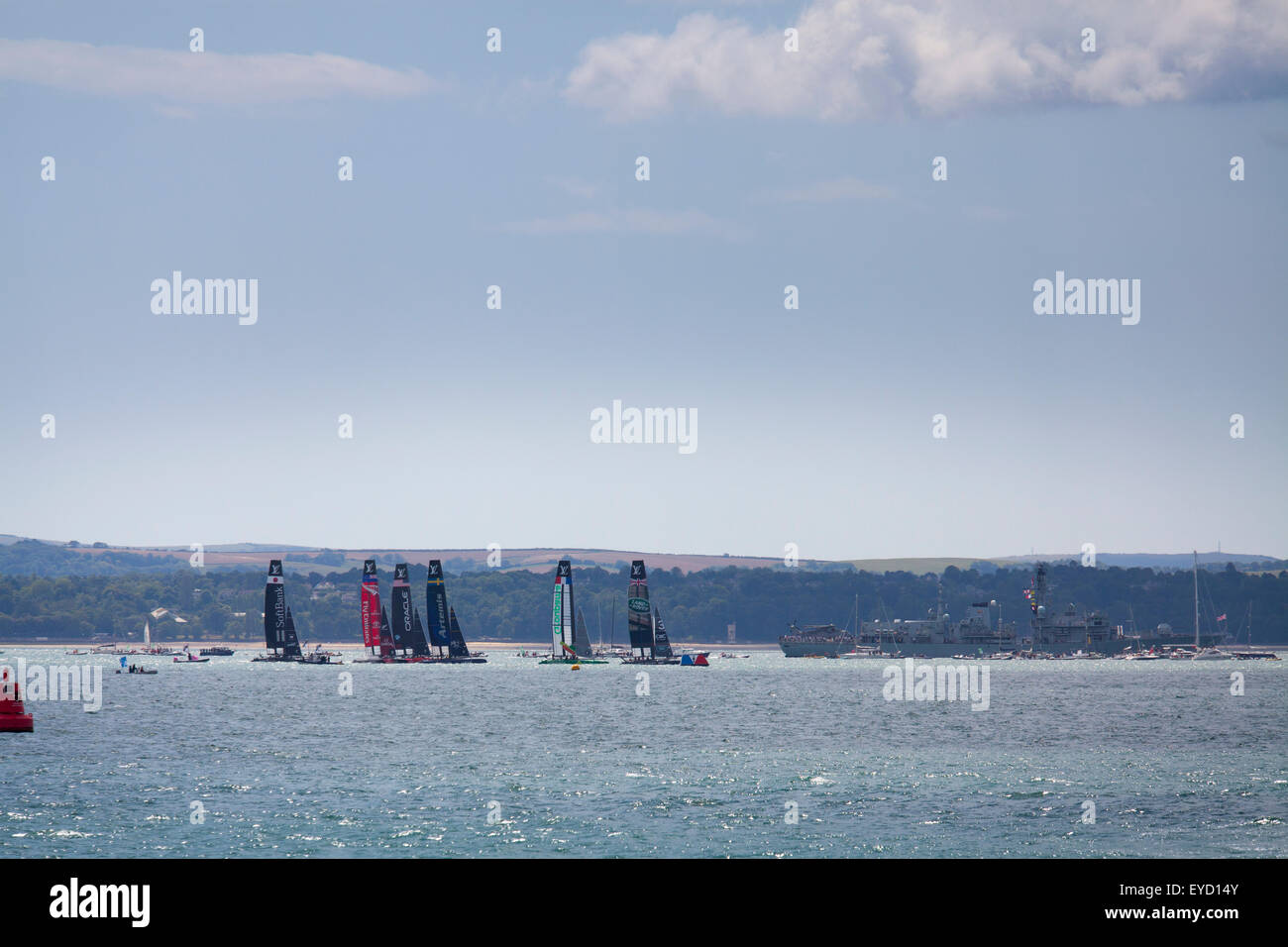 Admirals Cup races off Portsmouth on Saturday 25 July 2015 Racing begins - Stock Image