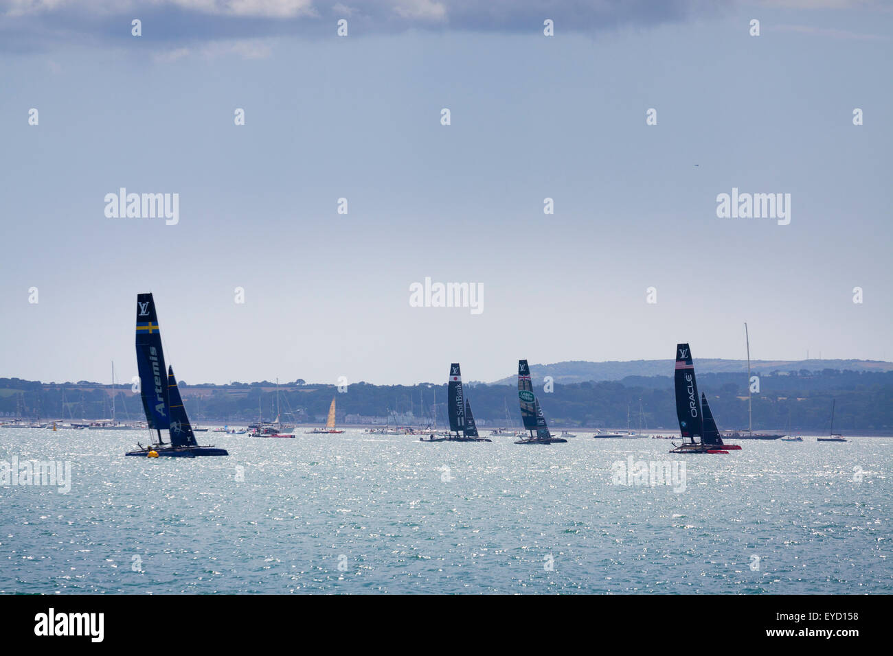 Admirals Cup races off Portsmouth on Saturday 25 July 2015 the yachts racing in the solent - Stock Image