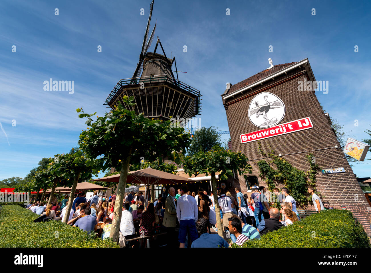 The Brouwerij 't IJ microbrewery in East Amsterdam next to the Gooyer windmill - Stock Image
