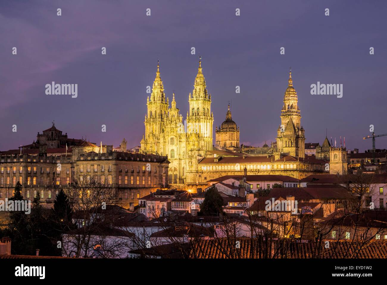 Dusk Shot of the Cathedral of Santiago de Compostela in Galicia, Spain Stock Photo