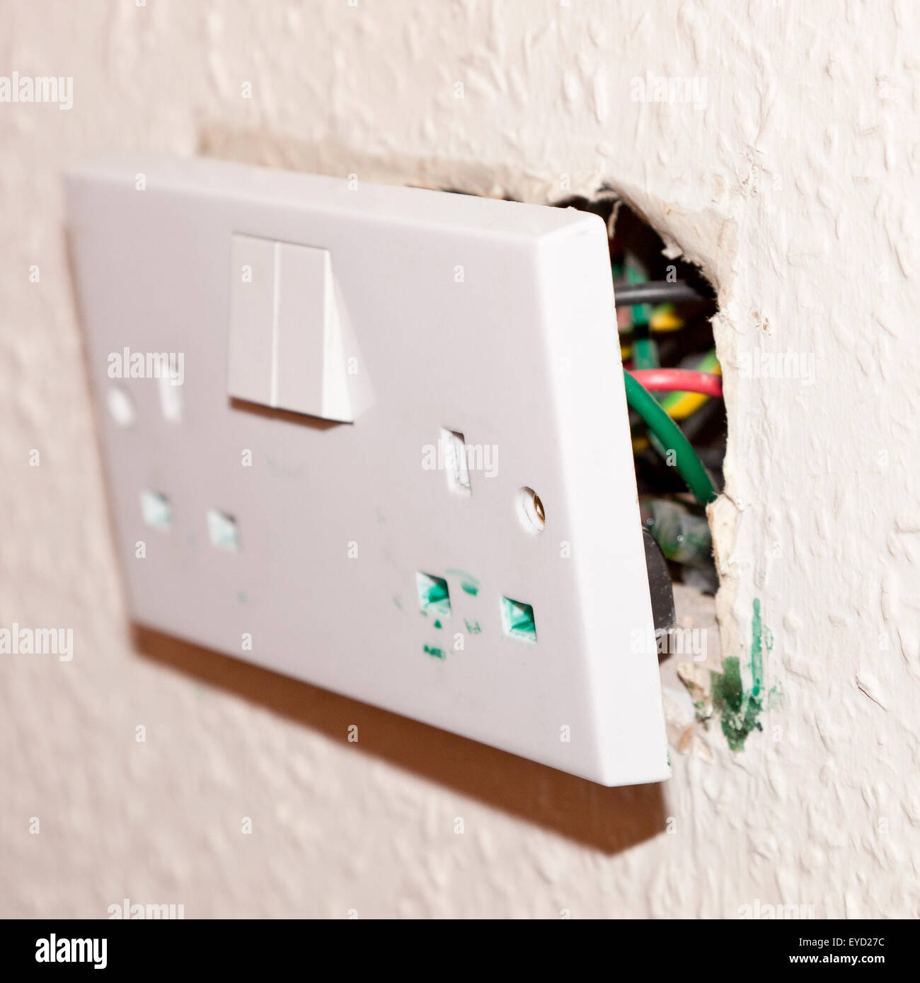 Double Socket Stock Photos Images Alamy Wire Light Switch From An Electrical Showing The Problem Of Di Osoctyl Pathalate In Uk Causing