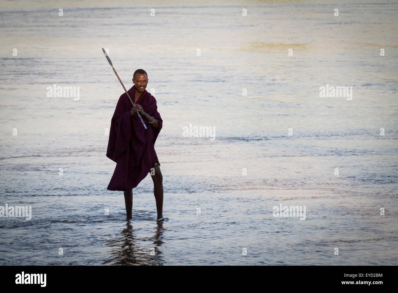 Maasai Warrior And Spear Stock Photos & Maasai Warrior And
