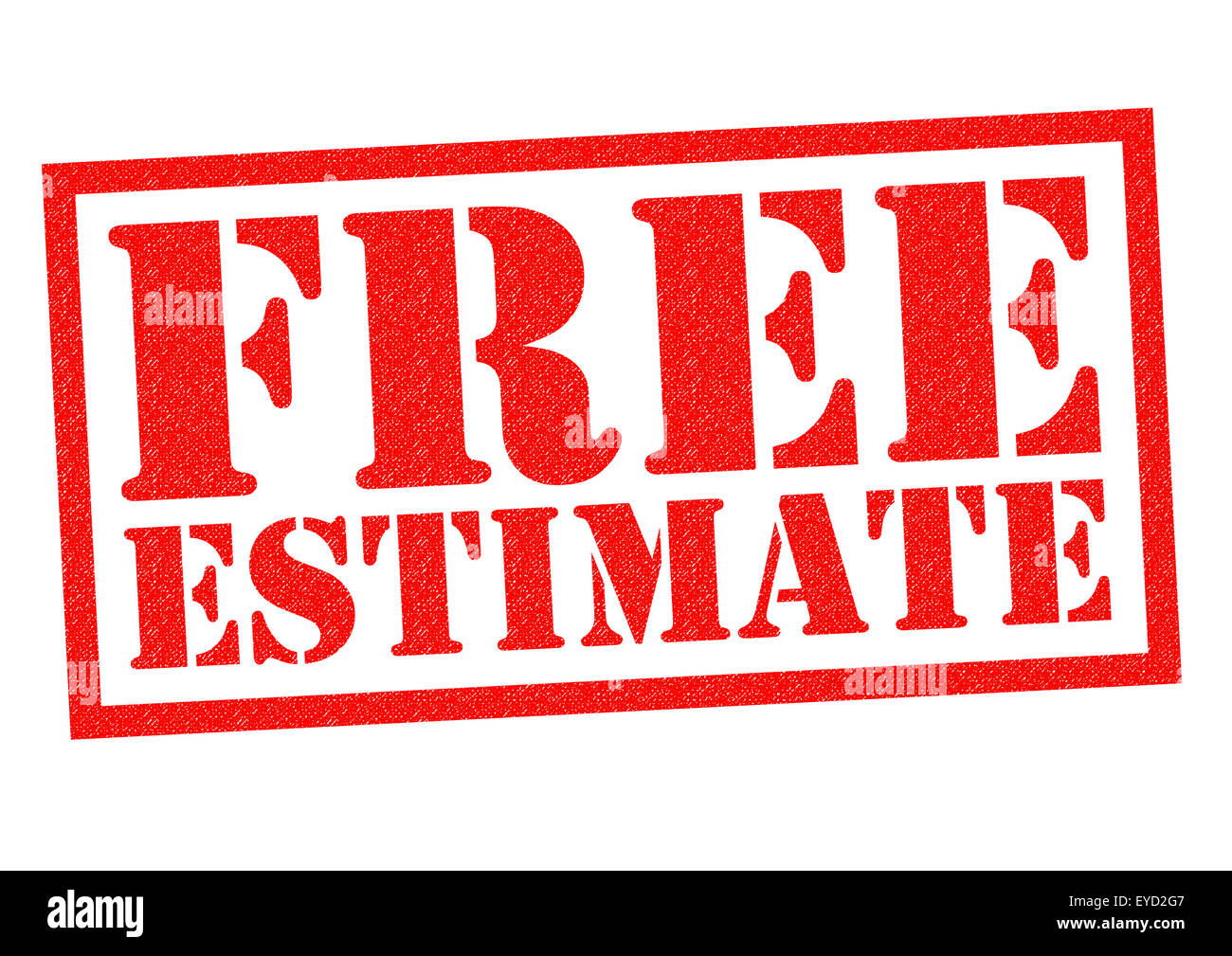 FREE ESTIMATE red Rubber Stamp over a white background. - Stock Image