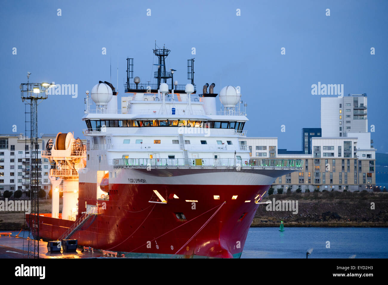 The Fugro Symphony one of Fugro Subsea Services vessels, a purpose built ROV - remotely operated underwater vehicle - Stock Image