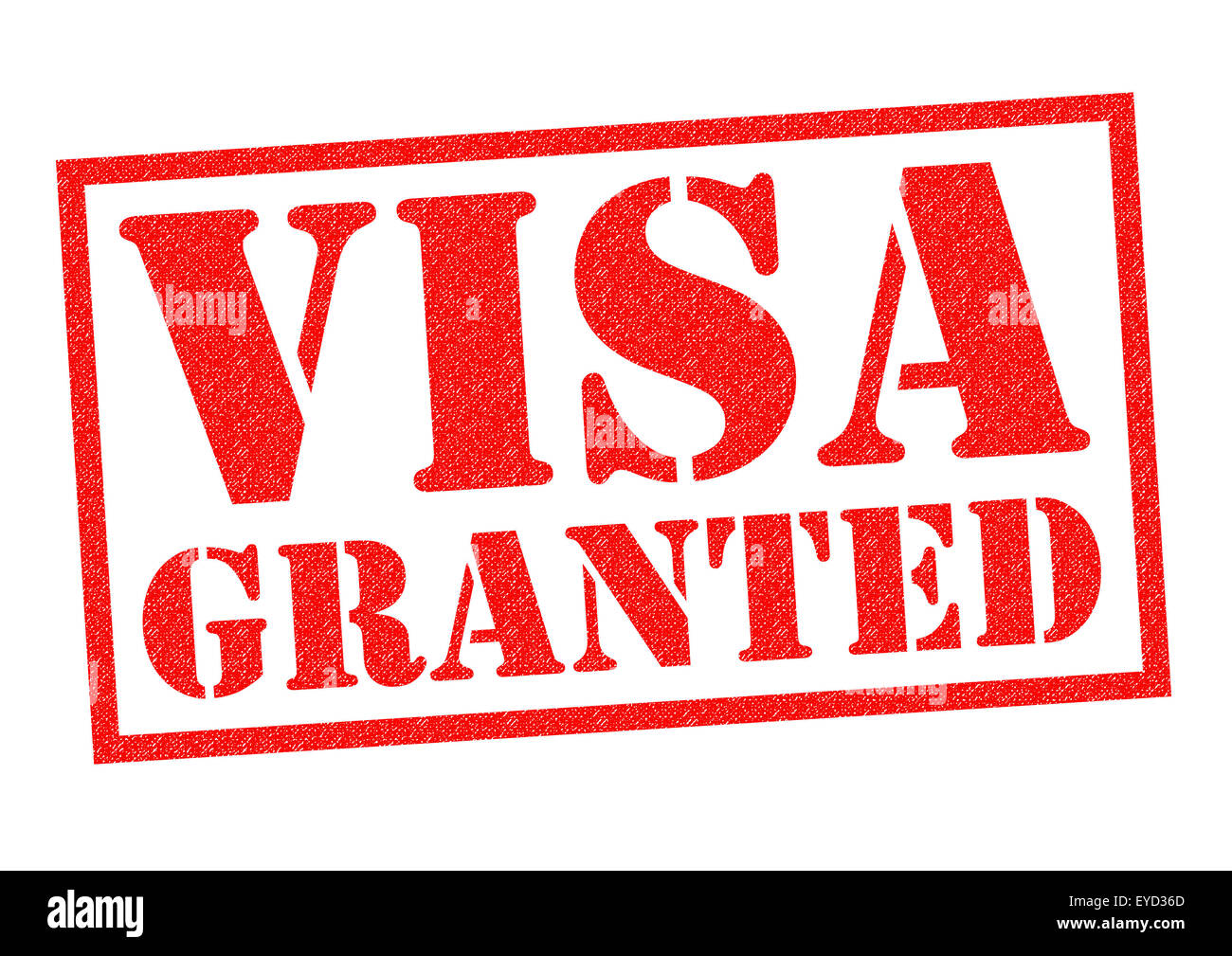 VISA GRANTED red Rubber Stamp over a white background. Stock Photo