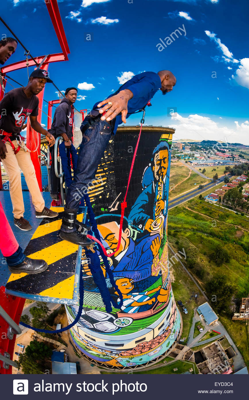 Man jumps off the 100 meter (328 foot) bungee jump at