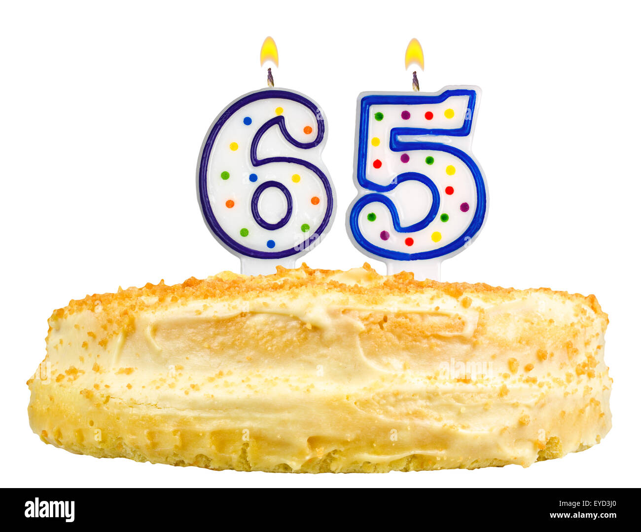 Birthday Cake With Candles Number Sixty Five Isolated On White Background