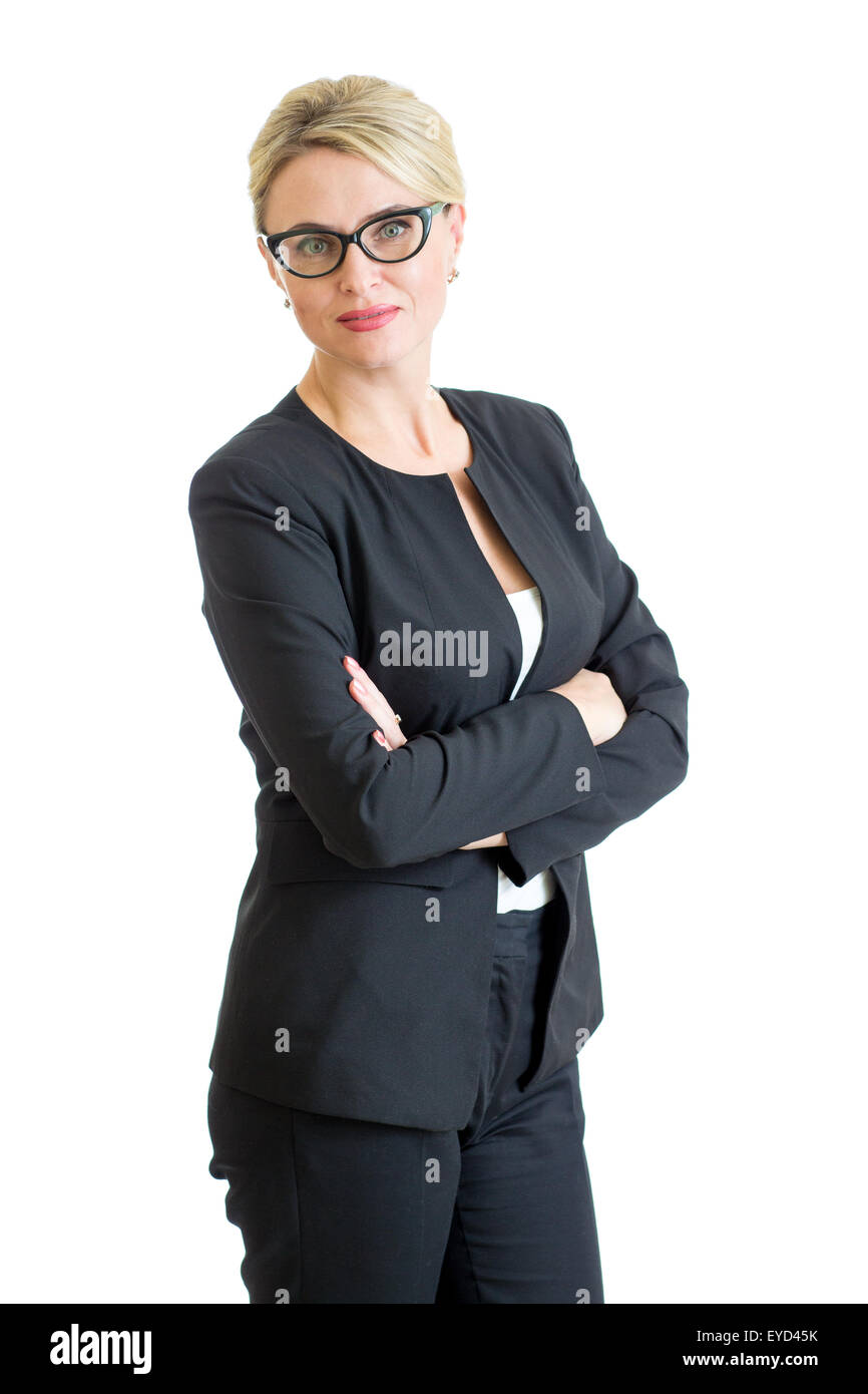 confident businesswoman weared eyeglasses isolated - Stock Image