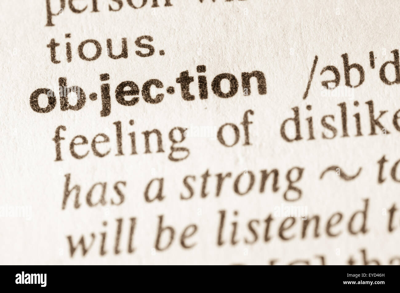 Definition of word objection  in dictionary - Stock Image