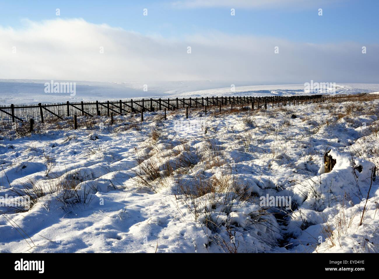 A snowy scene in the Pennine Hills, the backbone of Northern England. - Stock Image