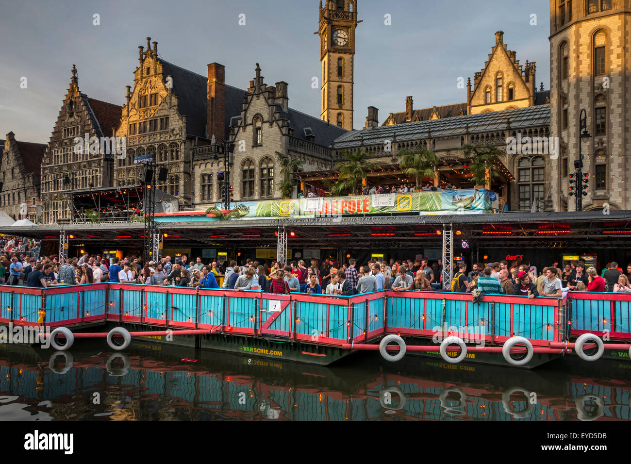 Visitors on grandstand watching the Polé Polé podium during the Gentse Feesten / Ghent Festival, summer - Stock Image