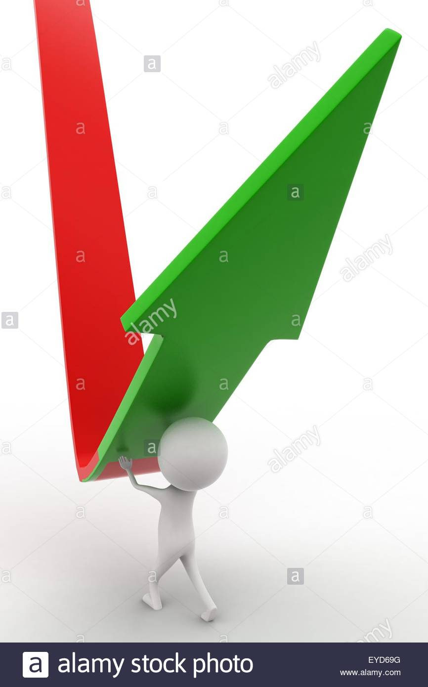 3d man elevating a down arrow concept on white isolated background  ,  back angle view - Stock Image