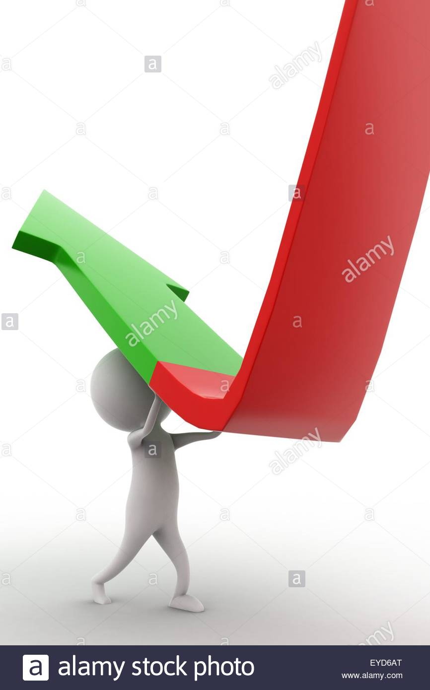 3d man elevating a down arrow concept on white isolated background  , side angle view - Stock Image