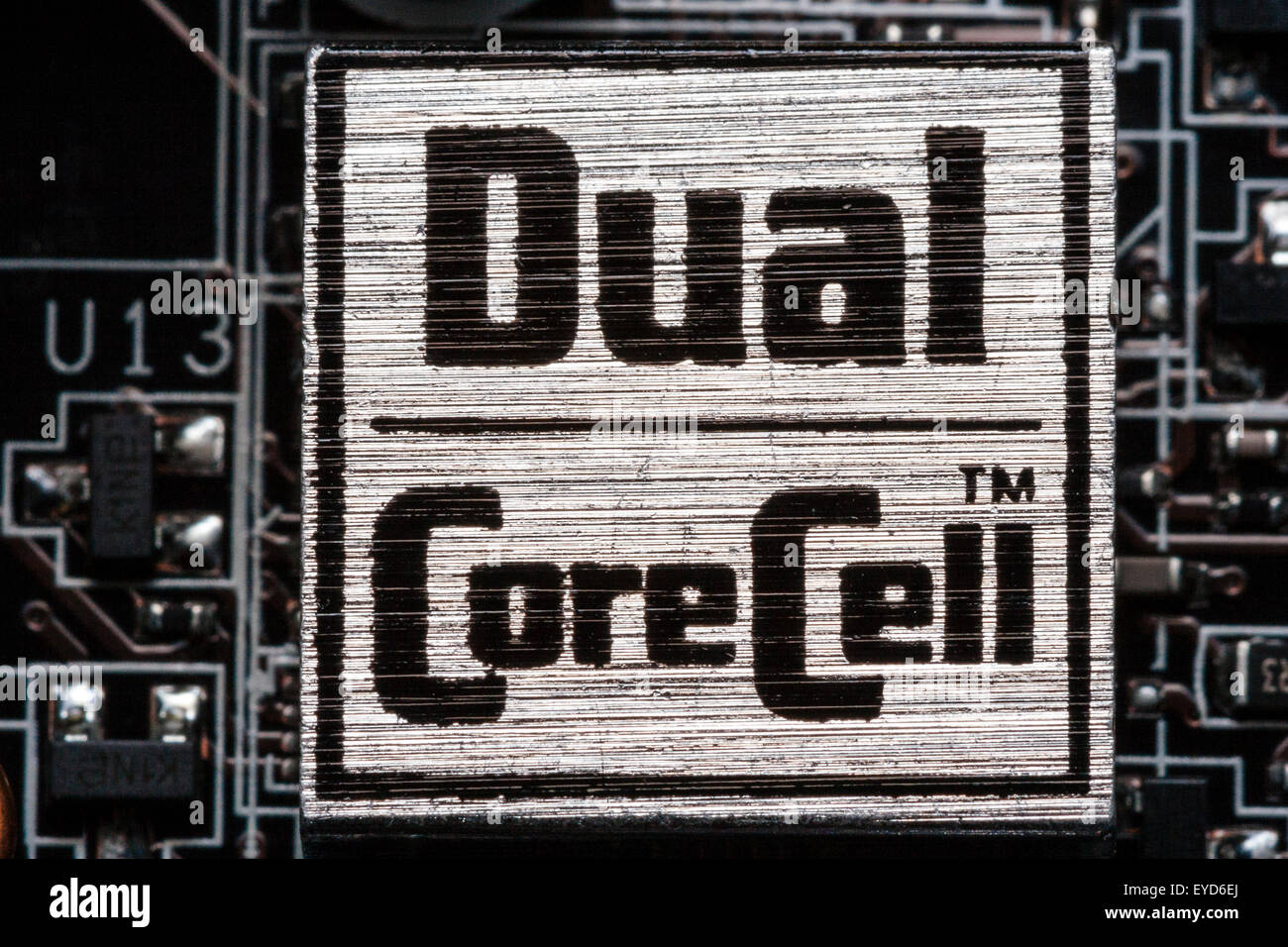 MSI Intel computer motherboard, 'Dual core cell' logo on board - Stock Image
