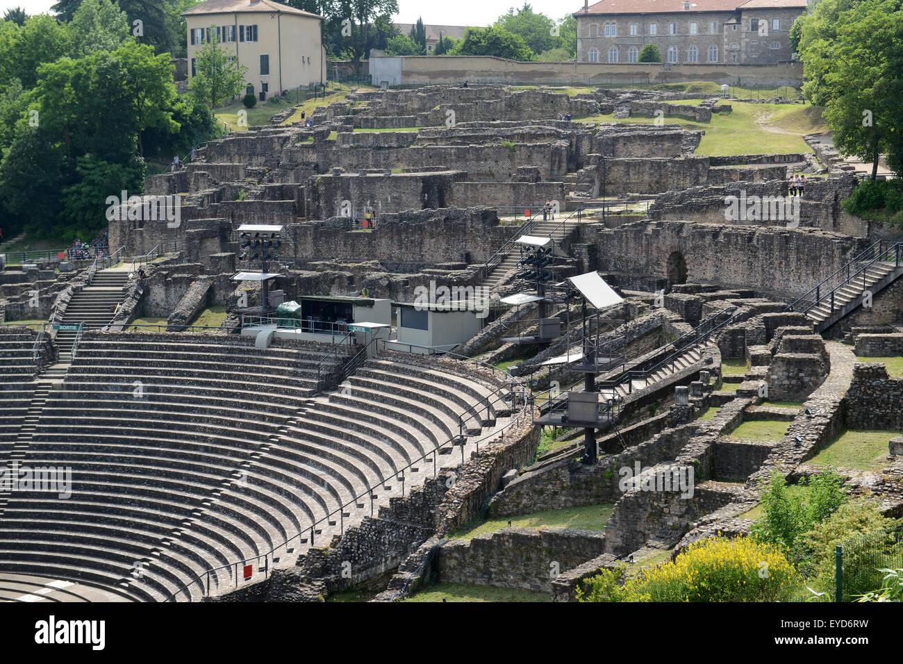 Roman Amphitheater Lyon France - Stock Image