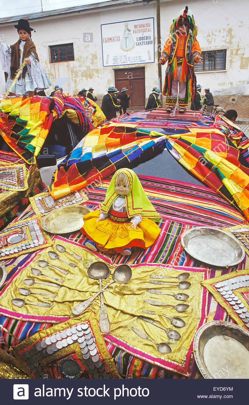Cars decorated for the cars blessing, Copacabana, Titicaca Lake, Bolivia, South America - Stock Image